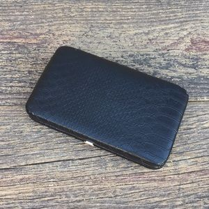 Handbags - Black Faux Snake Wallet